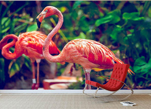 Pink flamingo close-up in Singapore zoo Wall Mural Wallpaper - Canvas Art Rocks - 2