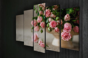 Pink roses on an old table of burlap 5 Split Panel Canvas  - Canvas Art Rocks - 2