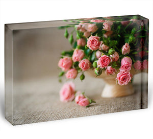 Pink roses on an old table of burlap Acrylic Block - Canvas Art Rocks - 1