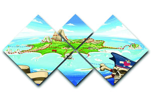 Pirate Cove Island Treasure Map 4 Square Multi Panel Canvas  - Canvas Art Rocks - 1