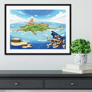 Pirate Cove Island Treasure Map Framed Print - Canvas Art Rocks - 1