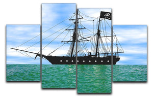 Pirate ship at anchor 4 Split Panel Canvas  - Canvas Art Rocks - 1