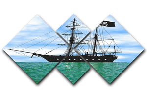 Pirate ship at anchor 4 Square Multi Panel Canvas  - Canvas Art Rocks - 1