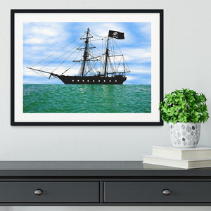 Pirate ship at anchor Framed Print - Canvas Art Rocks - 1