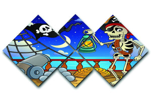 Pirate ship deck theme 6 4 Square Multi Panel Canvas  - Canvas Art Rocks - 1