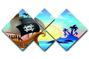 Pirate ship near small island 4 4 Square Multi Panel Canvas  - Canvas Art Rocks - 1