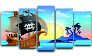 Pirate ship near small island 4 5 Split Panel Canvas  - Canvas Art Rocks - 1