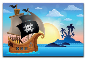 Pirate ship near small island 4 Canvas Print or Poster  - Canvas Art Rocks - 1