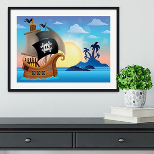 Pirate ship near small island 4 Framed Print - Canvas Art Rocks - 1