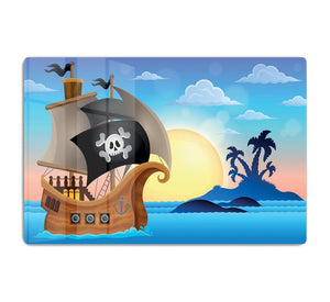 Pirate ship near small island 4 HD Metal Print