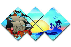 Pirate ship near small island 4 Square Multi Panel Canvas  - Canvas Art Rocks - 1