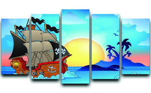 Pirate ship near small island 5 Split Panel Canvas  - Canvas Art Rocks - 1