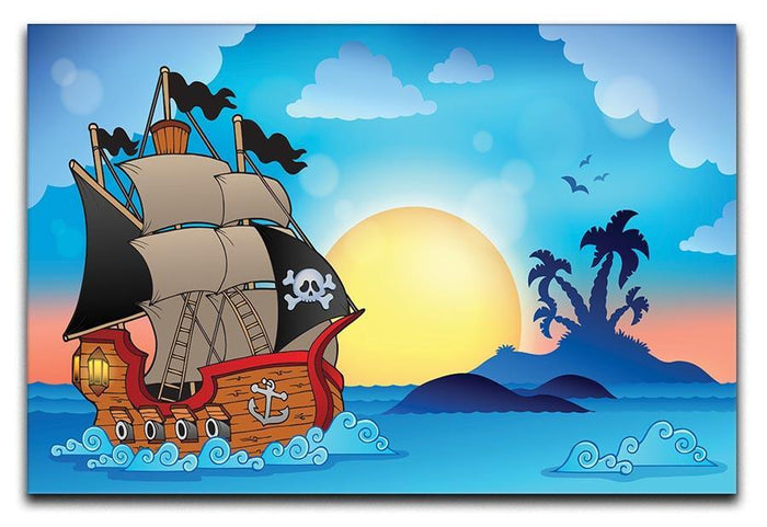 Pirate ship near small island Canvas Print or Poster