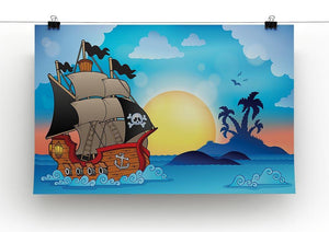 Pirate ship near small island Canvas Print or Poster - Canvas Art Rocks - 2