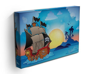 Pirate ship near small island Canvas Print or Poster - Canvas Art Rocks - 3