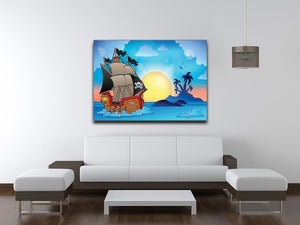 Pirate ship near small island Canvas Print or Poster - Canvas Art Rocks - 4