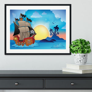 Pirate ship near small island Framed Print - Canvas Art Rocks - 1