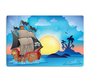 Pirate ship near small island HD Metal Print
