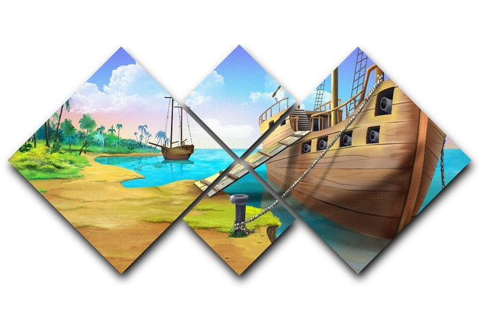 Pirate ship on the shore of the Pirate Island 4 Square Multi Panel Canvas