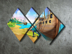 Pirate ship on the shore of the Pirate Island 4 Square Multi Panel Canvas - Canvas Art Rocks - 2
