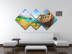 Pirate ship on the shore of the Pirate Island 4 Square Multi Panel Canvas - Canvas Art Rocks - 3