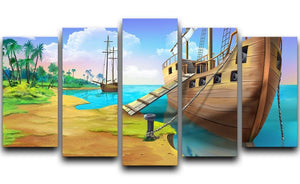 Pirate ship on the shore of the Pirate Island 5 Split Panel Canvas  - Canvas Art Rocks - 1