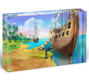 Pirate ship on the shore of the Pirate Island Acrylic Block - Canvas Art Rocks - 1