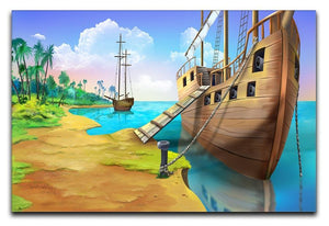 Pirate ship on the shore of the Pirate Island Canvas Print or Poster  - Canvas Art Rocks - 1