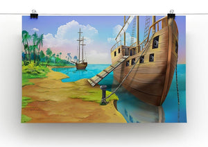 Pirate ship on the shore of the Pirate Island Canvas Print or Poster - Canvas Art Rocks - 2