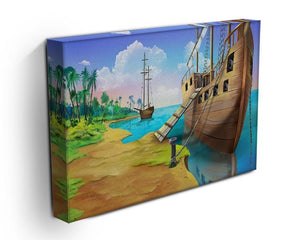 Pirate ship on the shore of the Pirate Island Canvas Print or Poster - Canvas Art Rocks - 3