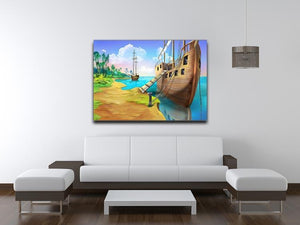 Pirate ship on the shore of the Pirate Island Canvas Print or Poster - Canvas Art Rocks - 4