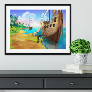 Pirate ship on the shore of the Pirate Island Framed Print - Canvas Art Rocks - 1