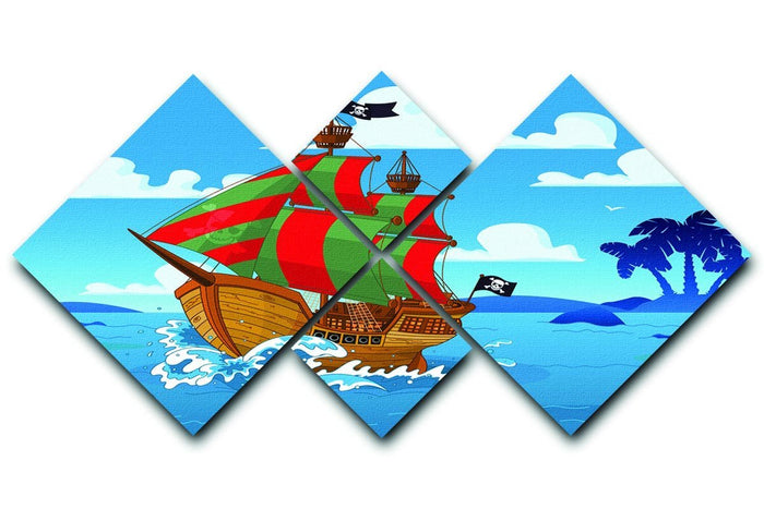 Pirate ship sails the seas 4 Square Multi Panel Canvas