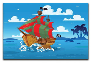 Pirate ship sails the seas Canvas Print or Poster  - Canvas Art Rocks - 1