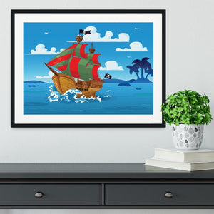 Pirate ship sails the seas Framed Print - Canvas Art Rocks - 1