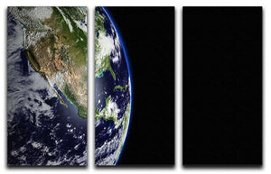 Planet Earth in universe or space 3 Split Panel Canvas Print - Canvas Art Rocks - 1