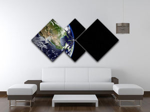 Planet Earth in universe or space 4 Square Multi Panel Canvas - Canvas Art Rocks - 3