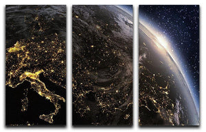 Planet earth Europe zone 3 Split Panel Canvas Print - Canvas Art Rocks - 1