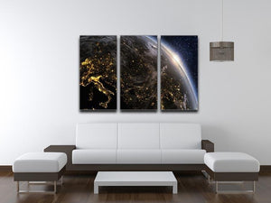 Planet earth Europe zone 3 Split Panel Canvas Print - Canvas Art Rocks - 3