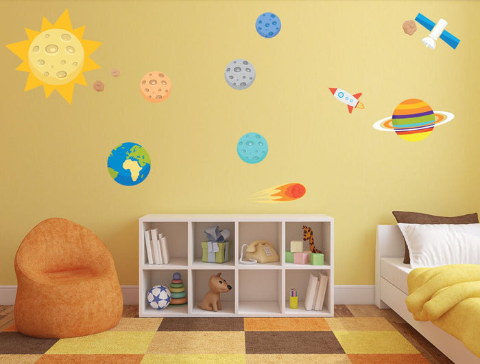 Planets & Spaceship Wall Sticker Set