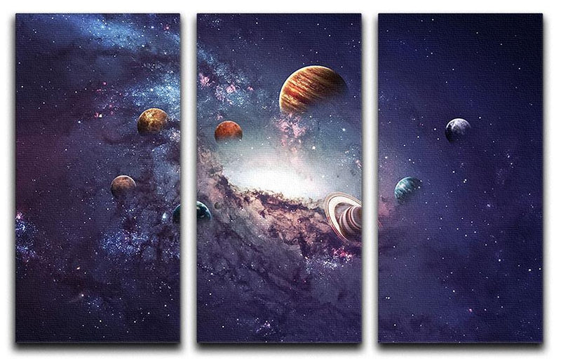 Planets in the solar system 3 Split Panel Canvas Print - Canvas Art Rocks - 1