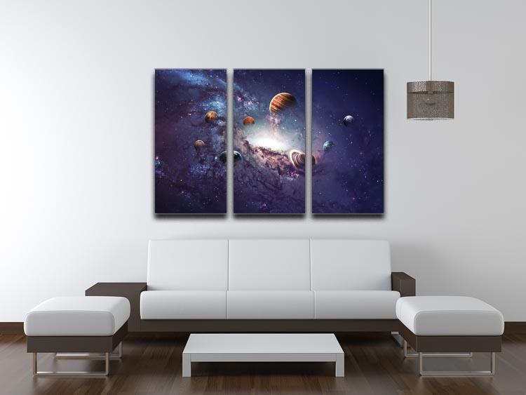 Planets in the solar system 3 Split Panel Canvas Print - Canvas Art Rocks - 3