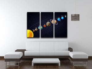 Planets that orbit the sun 3 Split Panel Canvas Print - Canvas Art Rocks - 3