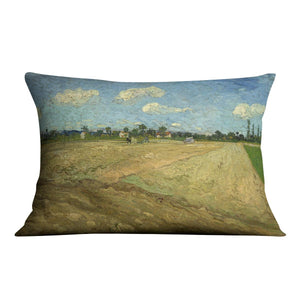 Ploughed fields by Van Gogh Throw Pillow