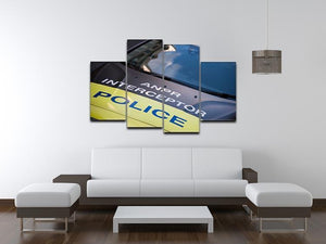 Police car 4 Split Panel Canvas  - Canvas Art Rocks - 3