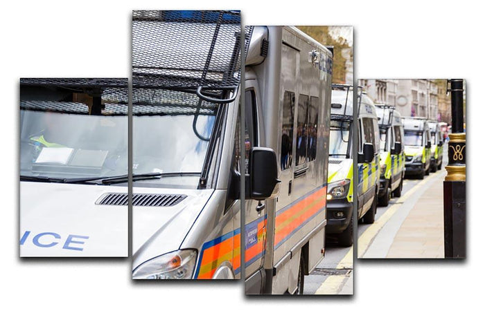 Police vans in a row 4 Split Panel Canvas