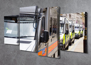 Police vans in a row 4 Split Panel Canvas  - Canvas Art Rocks - 2