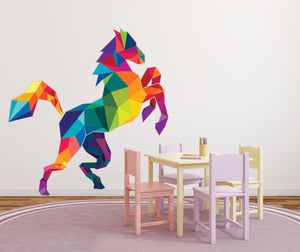 Polygonal Horse Wall Decal - Canvas Art Rocks - 1
