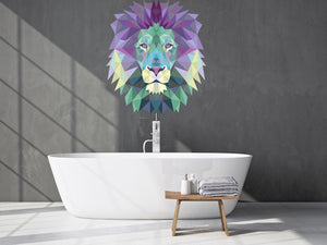 Polygonal Lion Head Wall Decal - Canvas Art Rocks - 1