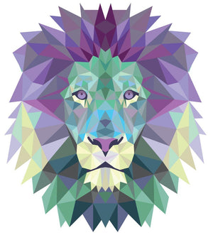 Polygonal Lion Head Wall Decal - Canvas Art Rocks - 2